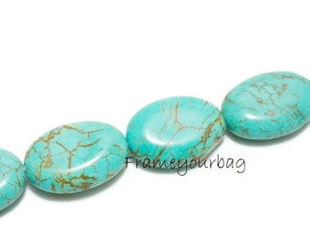 16 pcs Genuine Stabilized Blue Turquoise Striated Included oval Lentil Gemstone Bead 25X18mm