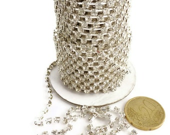 9m (9,84 yd) Silver colour strass 3x3mm (stone)chain for making bracelets