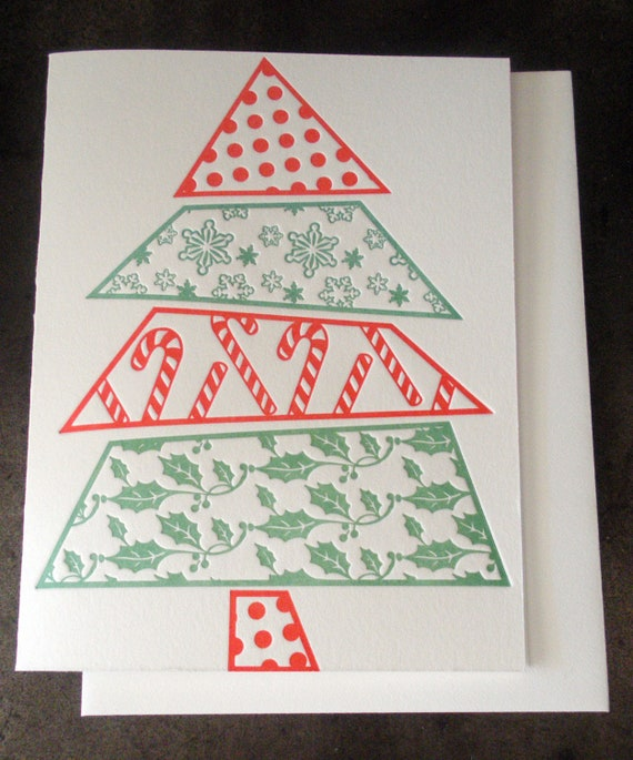 Holiday pattern letterpress christmas tree card, red and green