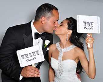 my ORIGINAL I'm Her Mr / I'm His Mrs - Thank You-Double Sided-Wedding Photo Booth Props Signs- On WHITE Paper - Set of 2