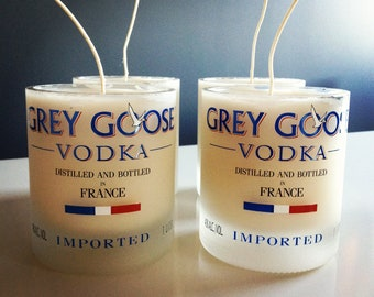 Scented Soy Candle Hand Poured Into Recycled Grey Goose Vodka Bottle