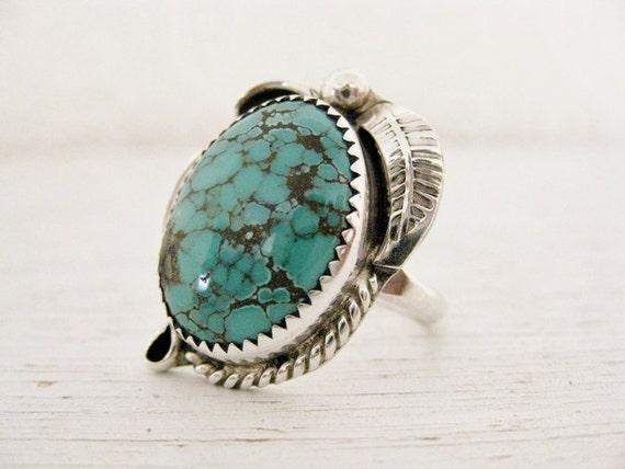 vintage Native American Navajo turquoise ring. NIZHONI