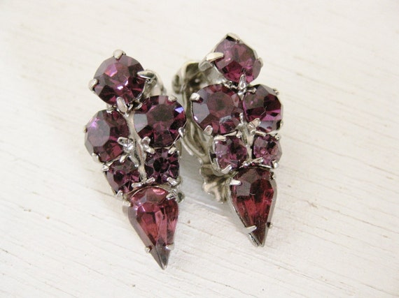vintage 1950s clip-ons earrings. PURPLE RAIN.