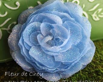 Glittered Ice Blue Ranunculus Flower Alligator Hair Clip- Handmade Floral Headpiece