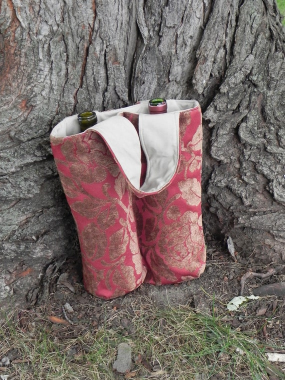 Red and Gold Insulated Double Wine Tote