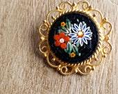 Vintage Mosaic Brooch Made in Itally