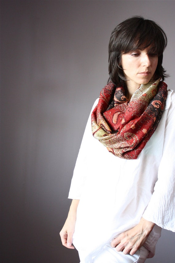 Holiday Gifts  scarf 45 % silk   multicolor dark red golden khaki  paisley autumn colors