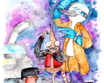 Regular Show / Back to the Future Fan Art, 8.5x11 inch inkjet print Mordecai and Rigby Painting