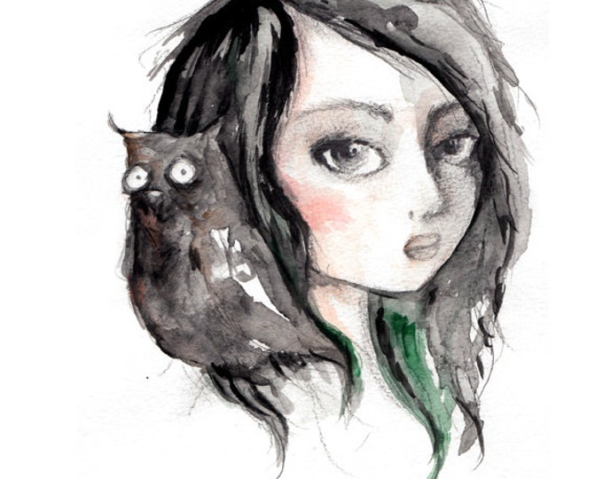 Owl Girl, 8.5 x 11 inch inkjet print art painting Pop Surrealism