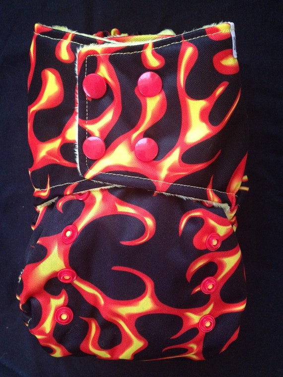 One-Size Pocket Style Cloth Diaper: Flames Print
