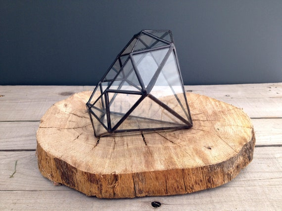 Large Diamond // recycled glass terrarium //