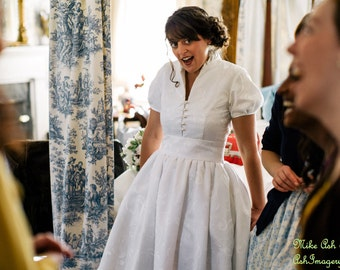 Custom Made Wedding Gown Daphne  Short Sleeves Collar Open Neckline Waistband Full Pleated Skirt Misses Plus Size Made in USA