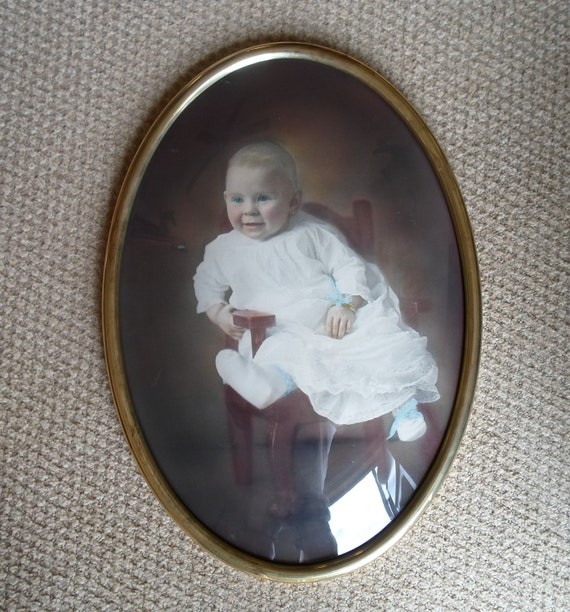 Antique Ovel Framed Childs Photo  From Around 1918  Painted Photo  Wall Hanging  Vintage Cottage Chic  Shabby Chic  Convex Glass Metal Fram