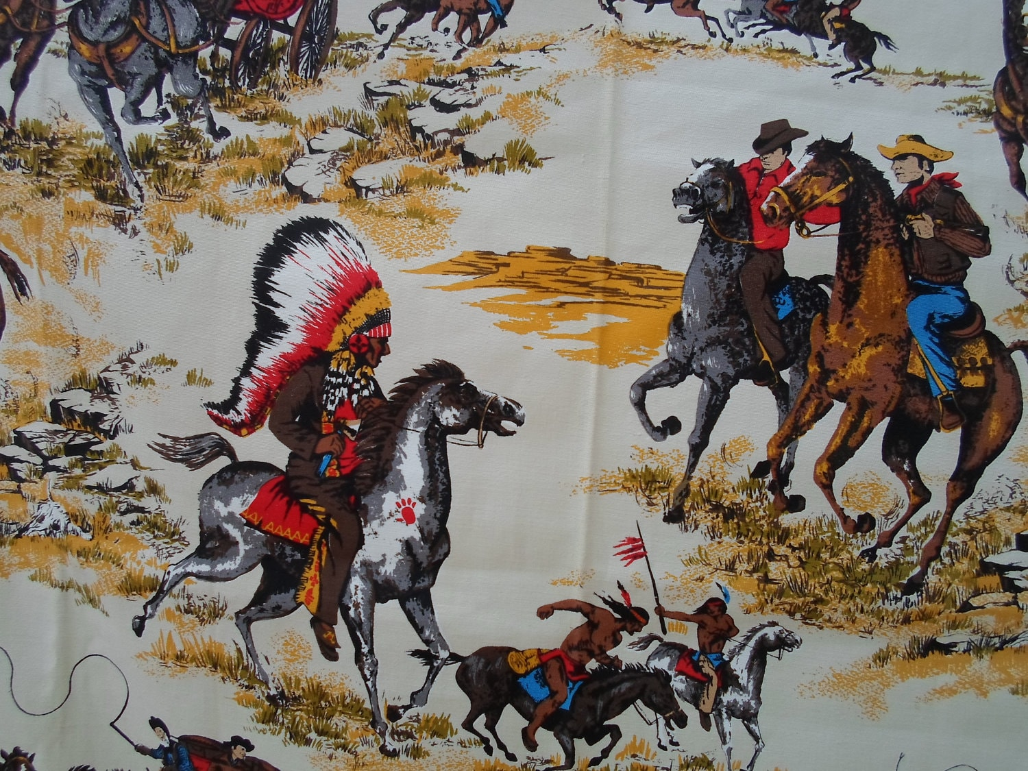 Vintage Cowboy Fabric 43 By 49 Wide