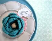 crocheted flower applique large - berry blue
