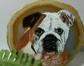 Pet Painting - Have your pet painted on a Small Slice of Agate Stone