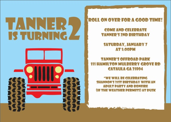 jeep  truck birthday party invitation digital or by