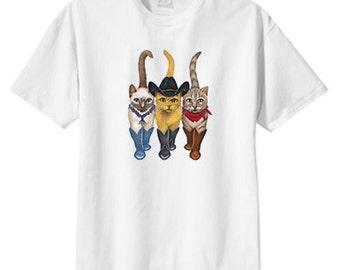 Country Western Cowboy Cats New T Shirt S M L XL 2X 3X 4X 5X