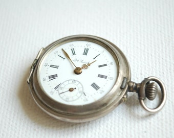 antique russian swiss silver pocket watch, kramer & Moser, vintage, silver 875, steampunk, rare, rustic, collectibles