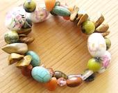 Quirky Memory Wire Bracelet- Jasper, Fluorite, Yellow Turquoise, Carnelian Quartz, Magnesite, Flower Print Porcelain Beads