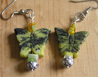 Yellow Turquoise Butterfly Earrings with Millefiori Glass Chips
