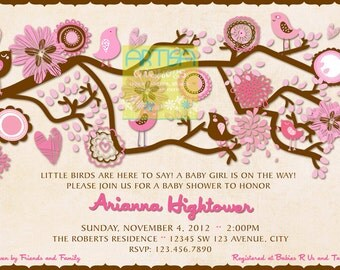 Birds Baby Shower Invitation - Pink and Brown Baby Shower Invitation - Pink and Brown Birds Baby Shower - Birdie Baby Shower Invitation
