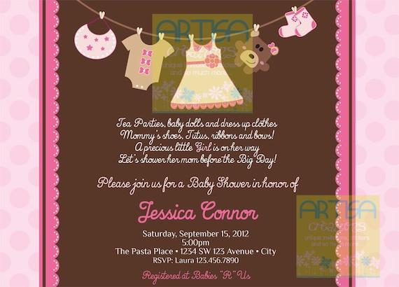 Girl Baby Shower Invitation - Baby Girl Shower Invitation - Girl Clothes Baby Shower - Pink and Brown Baby Shower