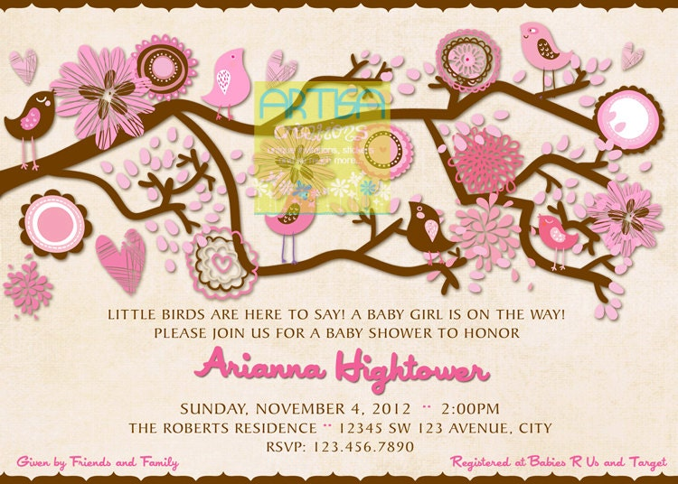 birds baby shower invitation pink and brown baby shower