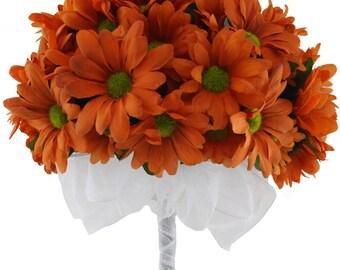Daisy Bouquet Orange - Silk Daisy Bouquet Large - Bridal Wedding Bouquet