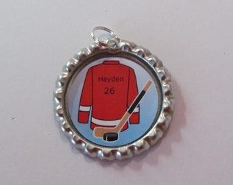 Personalize Hockey Bottle Cap on 18 in ball chain necklace