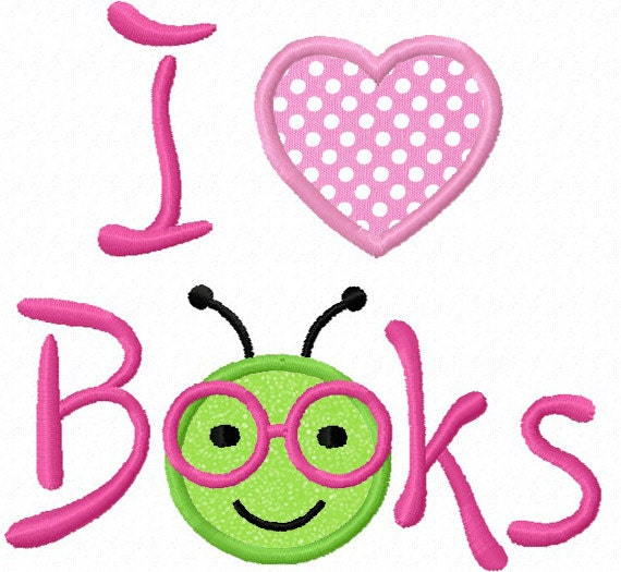 Instant Download Back To school/I Love Books Bookworm Applique