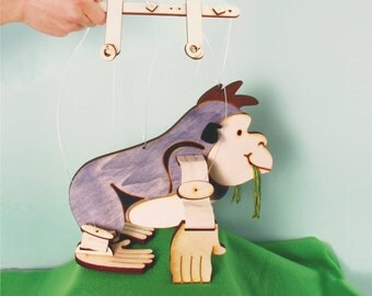 Gorilla, Monkey, Wood Marionette, Gift Idea, Hand Made, Room Decoration for kids.