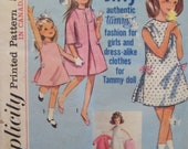 """Vintage 1965 Simplicity 5899 Pattern """"Jiffy"""" Authentic Tammy Fashion for Girls' and Dress-Alike clothes for Tammy Doll in Size 2"""