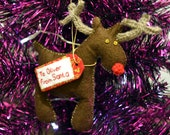 Personalised Reindeer Felt/ Knitted Christmas Decoration
