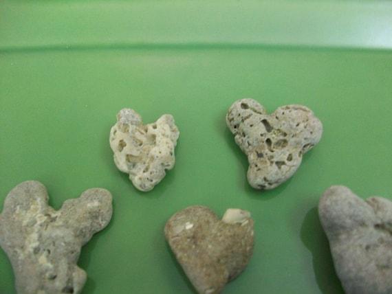 Heart shaped, ocean pebbles, beach stones, beach decor (Lot 123)