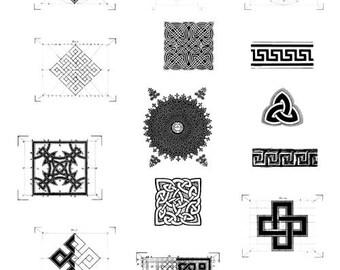 Digital collage sheet, 17 motives, symbols, knots, meander, celtic knots