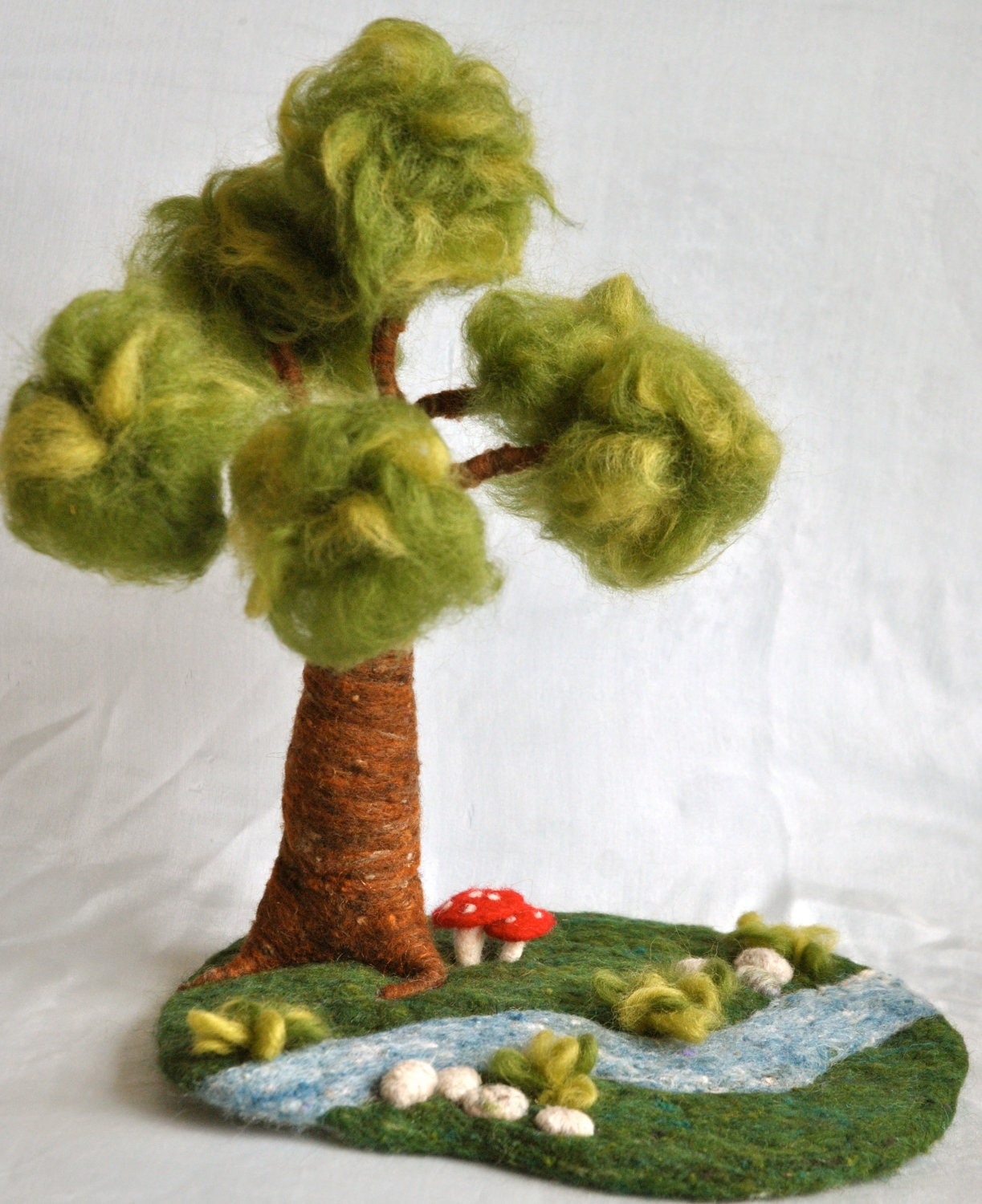 Waldorf inspired needle felted playscape: Tree river stones