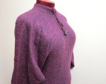 1980s Purple Metallic Sweater - Long Dolman Batwing Sleeves - Keyhole Neckline - Hipster Glam New Wave - Medium Large - Vegan