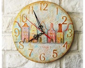 The Houses Wall Clock OOAK Home Decor for Children Baby Kid Boy Girl Nursery Playroom