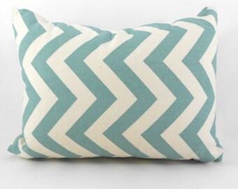 Lumbar Pillow Cover ANY SIZE Decorative Pillow Cover Premier Prints ZigZag Village Blue & Natural