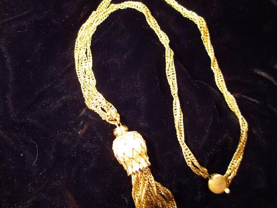 Gold Tone Monet Pendant Necklace Chain Tassel