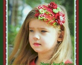 Red, White & Lime Felt Polka Dot Feather Pad  Headband or Hair Clip, With Rhinestone Accents. Photo Prop