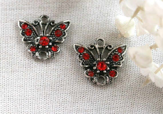 2 Lovely Silver Butterfly Charms/Pendants With Red Crystals