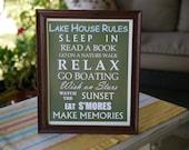 Lake House Rules Framed Sign