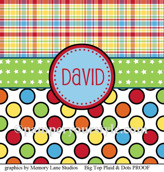 Plaid and Polka Dot Shower Curtain - Change colors to match your theme - Personalized Shower Curtain, Custom Monogrammed Curtain