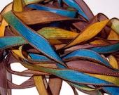 "Celestial 42"" hand dyed wrist wrap bracelet silk ribbon//Yoga wrist wrap bracelet ribbons//Silk wrist wrap ribbon// By Color Kissed Singles"