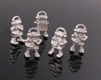 16Pcs -16mmX8.5mmRhodium Plated over zinc Alloy Tiny Robot Charms Pendant(K301)