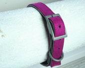"Dog Collar - Leather and Wool Felt - Medium  15""-17"" - Purple Berry"
