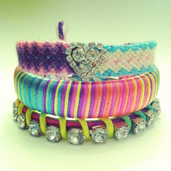 Friendship Bracelet with statement rhinestone in pastel pink blue purple and white colors