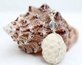 Coral and Aquamarine Crystal Silver Pendant
